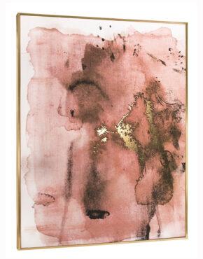 Toile rose et or cadre doré