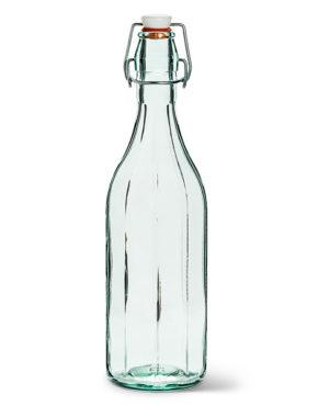 Bouteille en verre recyclé à facettes