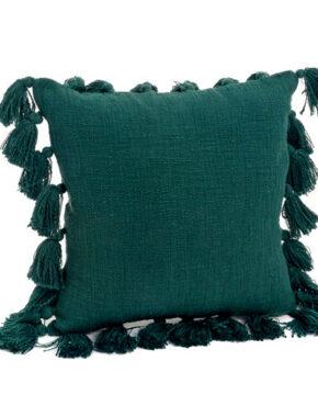 Coussin vert avec glands