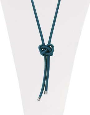 Collier avec noeud en corde soyeuse Sarcelle