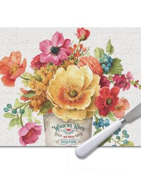 Ens. de plateau à fromage Bouquet floral