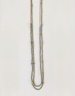 Long collier à billes 1452 gris